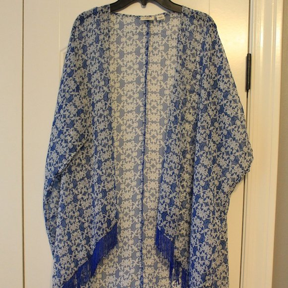Cato Other - Blue Patterned Cover Up With Tassles
